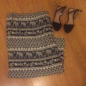Black and white elephant print skirt